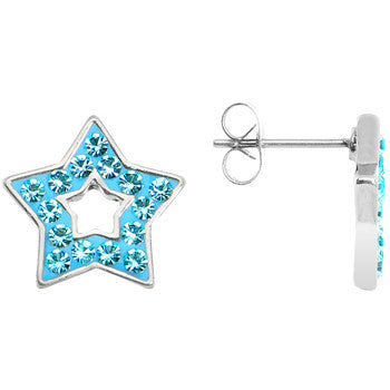 Blue Ferido Crystal Star Stud Earrings
