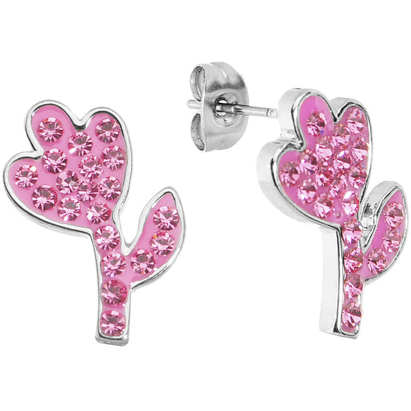Pink Ferido Crystal Flower Stud Earrings