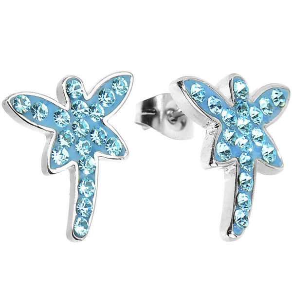 Blue Ferido Crystal Dragonfly Stud Earrings
