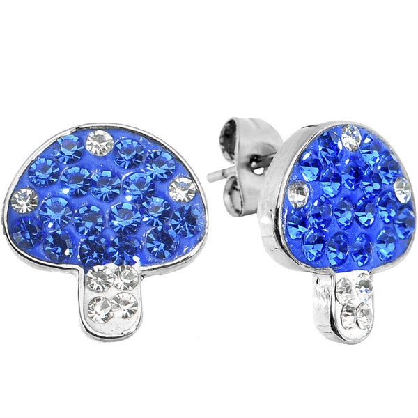 Blue Clear Ferido Crystal Button Mushroom Stud Earrings