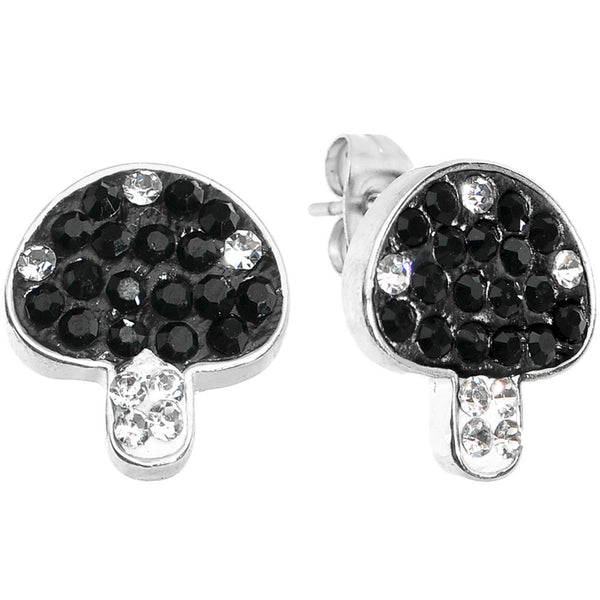Black Clear Ferido Crystal Button Mushroom Stud Earrings
