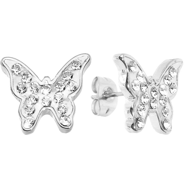 Sparkly White Butterfly Stud Earrings