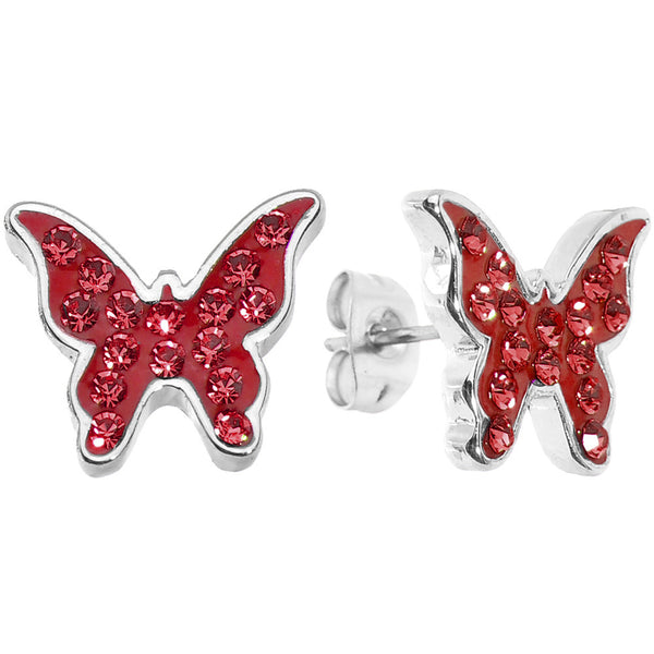 Sparkly Red Butterfly Stud Earrings
