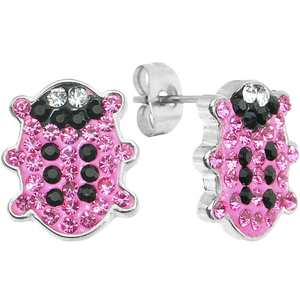 Pink Ferido Crystal Snuggle Bug Stud Earrings