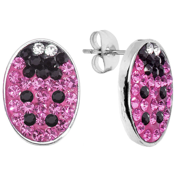 Ferido Crystal Pink Ladybug Stud Earrings