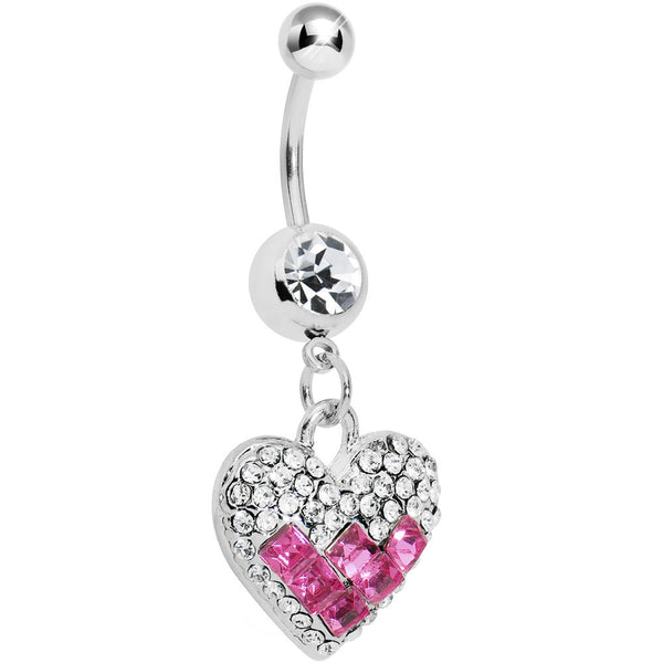 Crystalline Gem Pink Square Paved Heart Belly Ring