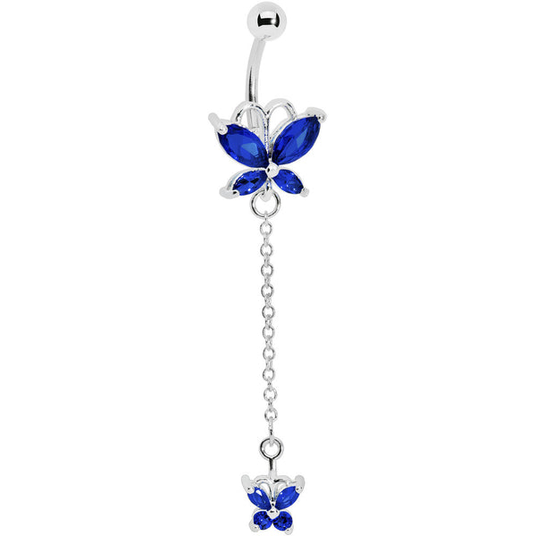 Delicate Sapphire Butterfly Dangle Belly Ring
