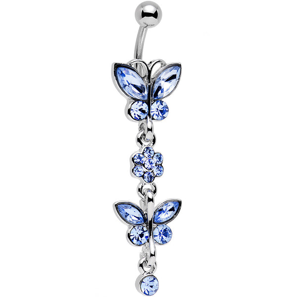 Light Sapphire Double Butterfly Flower Belly Ring