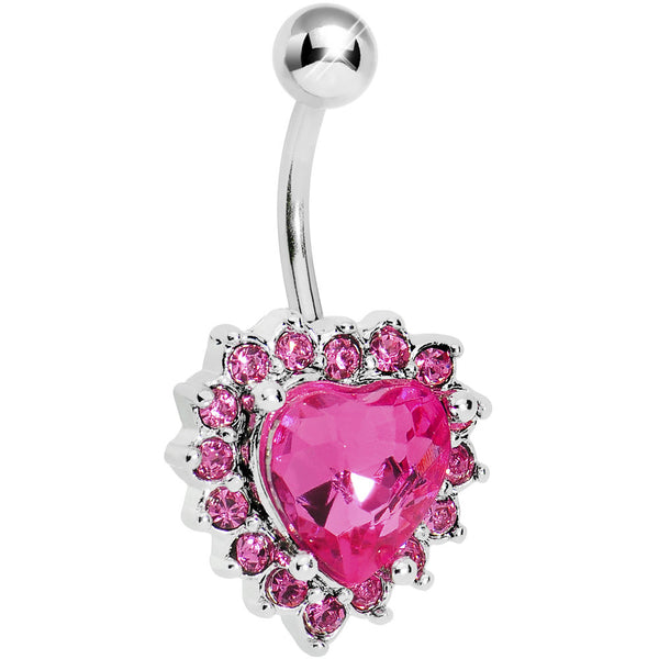 Pink Gem Sweet Surround Princess Heart Belly Ring