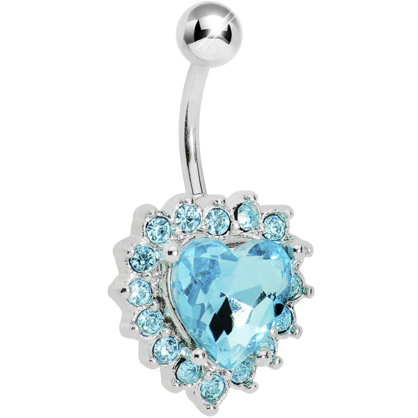 Aqua Gem Sweet Surround Princess Heart Belly Ring