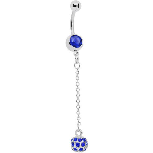 Sapphire Blue Gem Sparkle Orb Chain Drop Belly Ring