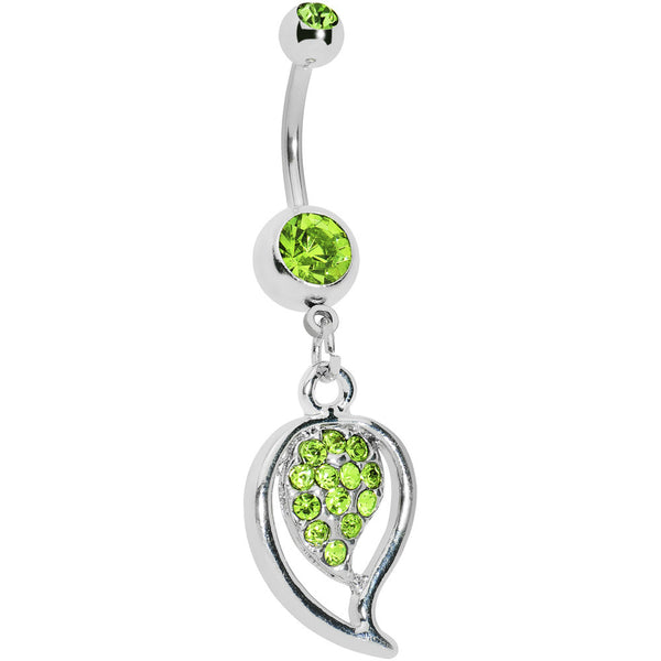 Peridot Green Gem Stylish Paved Leaf Belly Ring