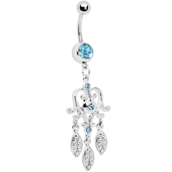 Aqua Gem Scroll Heart Dream catcher Belly Ring