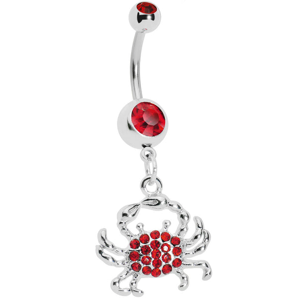 Red Gem Paved Shell Crab Dangle Belly Ring