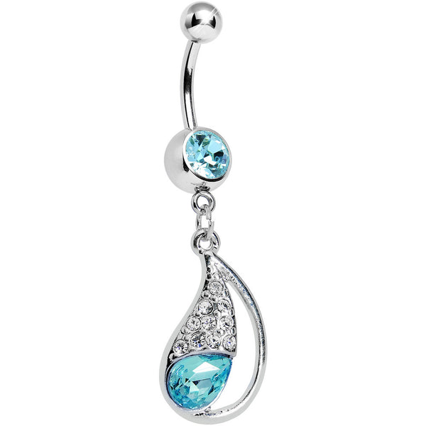 Aqua Gem Sparkling Teardrop Belly Ring