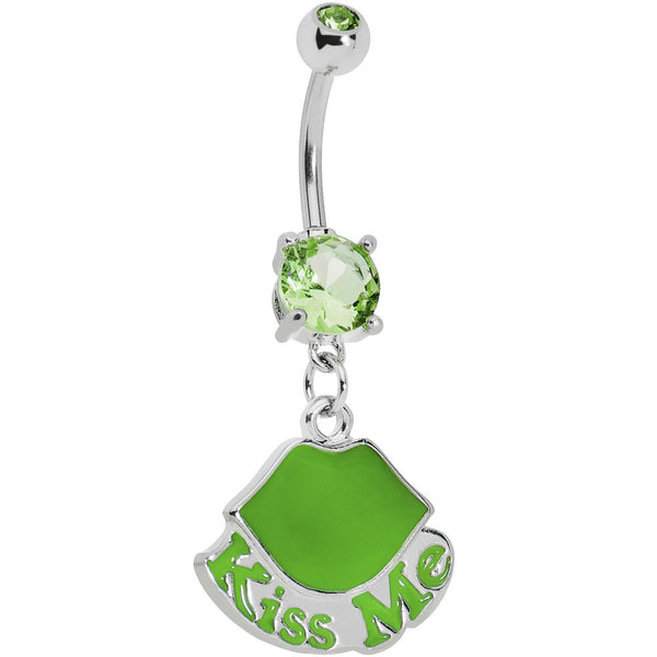 Green Gem Kiss Me Lips Belly Ring
