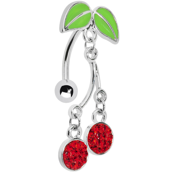 Red Gem Top Down Cherry Drop Belly Ring
