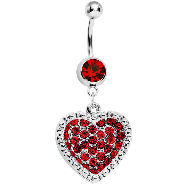 Red Gem Paved Heart Dotted Line Belly Ring