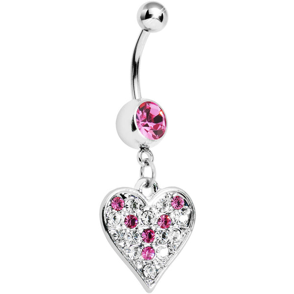 Pink Gem Encrusted Heart Dangle Belly Ring