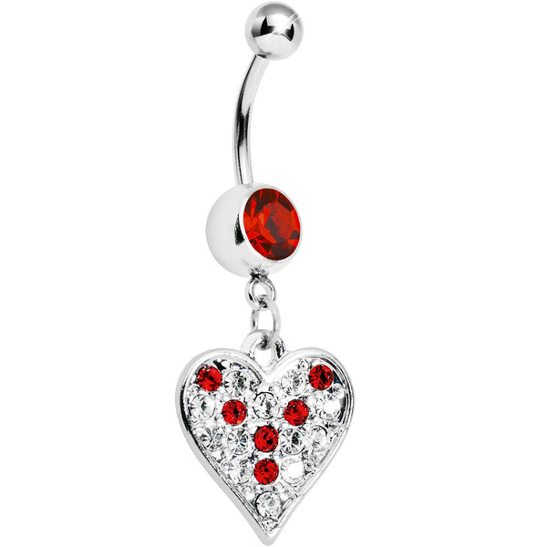 Red Gem Encrusted Heart Dangle Belly Ring