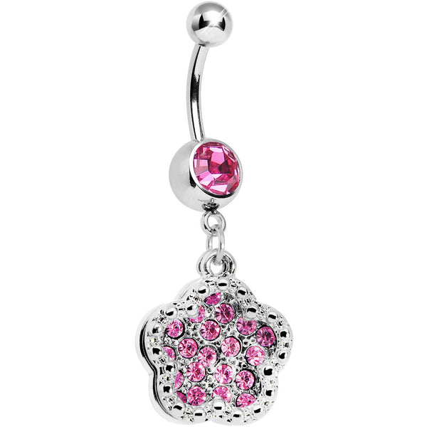 Pink Gem Paved Flower Dotted Line Belly Ring