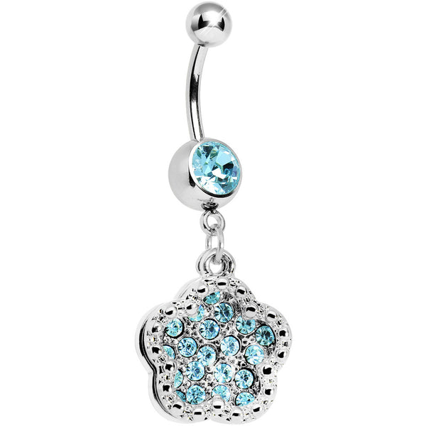 Aqua Gem Paved Flower Dotted Line Belly Ring