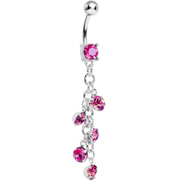 Pink Gem Dropping Chain Dangle Belly Ring