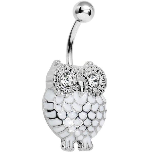 Crystalline Gem White Feathered Owl Belly Ring