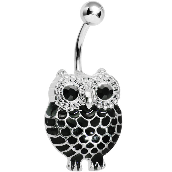 Black Gem Ebony Feathered Owl Belly Ring