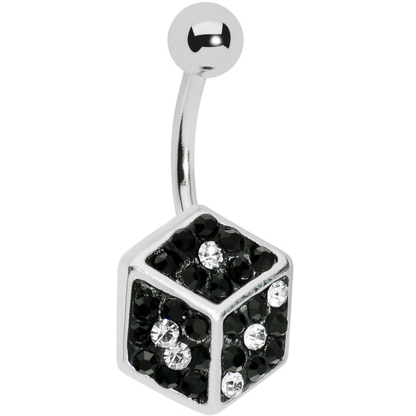 Black Gem Paved Dice Belly Ring