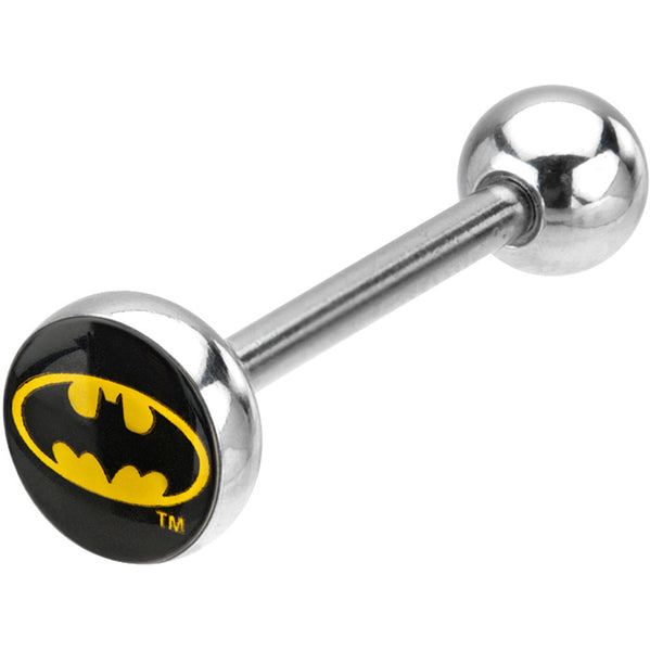 Stainless Steel Batman Logo Barbell Tongue Ring