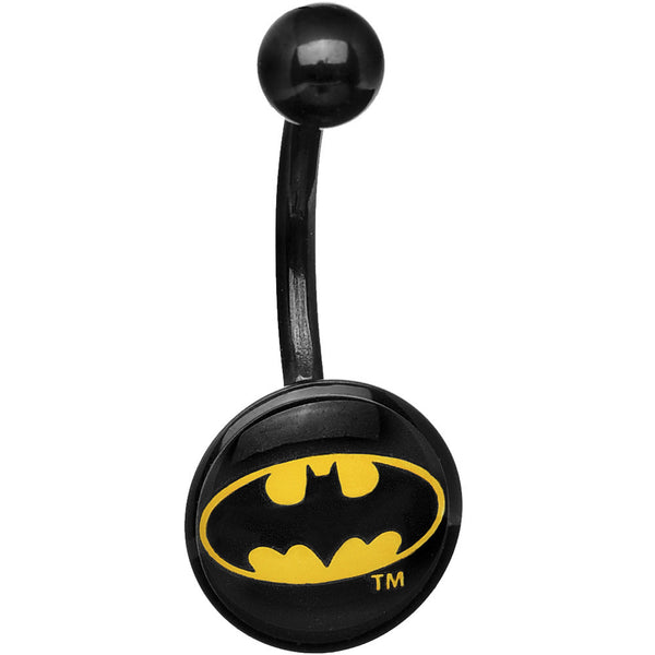 Black Acrylic Batman Logo Belly Ring