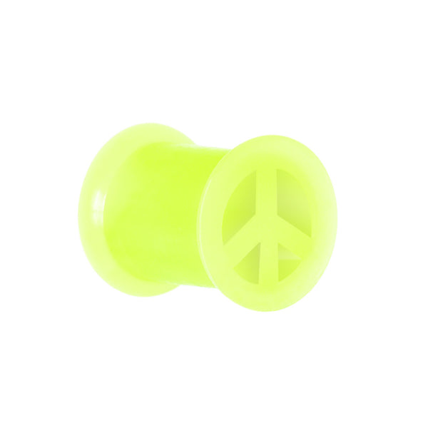 0 Gauge Neon Yellow Silicone Peace Sign Tunnel