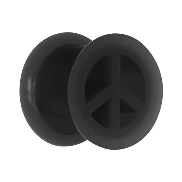 "1/2"" Black Silicone Peace Sign Tunnel"