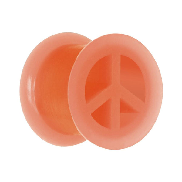 Neon Silicone Peace Sign Tunnel 00 Gauge to 14mm