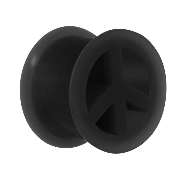 "9/16"" Black Silicone Peace Sign Tunnel"