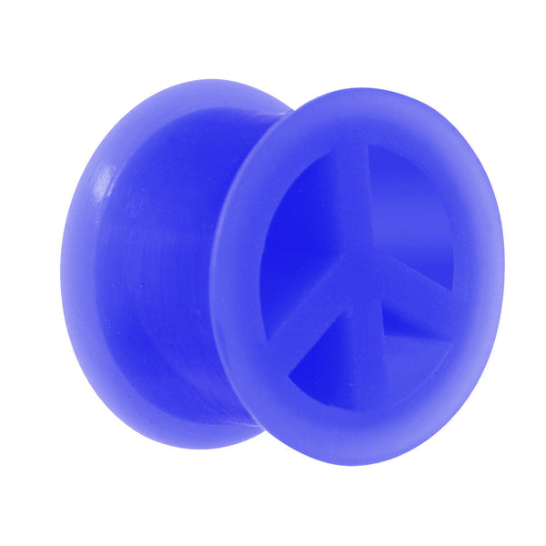 "9/16"" Blue Silicone Peace Sign Tunnel"