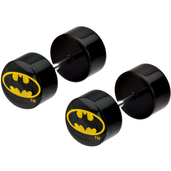 Black Acrylic Batman Logo Cheater Plug Set