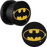 "7/16"" Black Acrylic Batman Logo Screw Fit Plug Set"