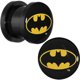 00 Gauge Black Acrylic Batman Logo Screw Fit Plug Set
