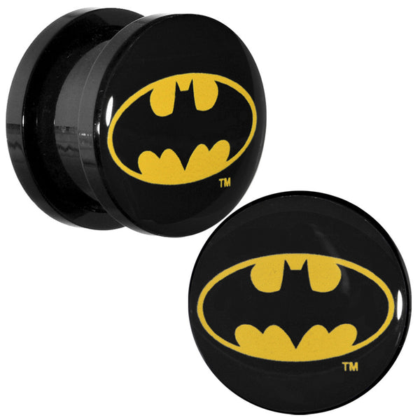 "1/2"" Black Acrylic Batman Logo Screw Fit Plug Set"