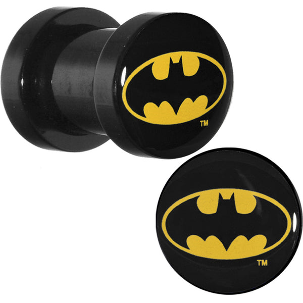 2 Gauge  Black Acrylic Batman Logo Screw Fit Plug Set