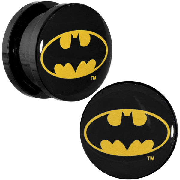 "5/8"" Black Acrylic Batman Logo Screw Fit Plug Set"