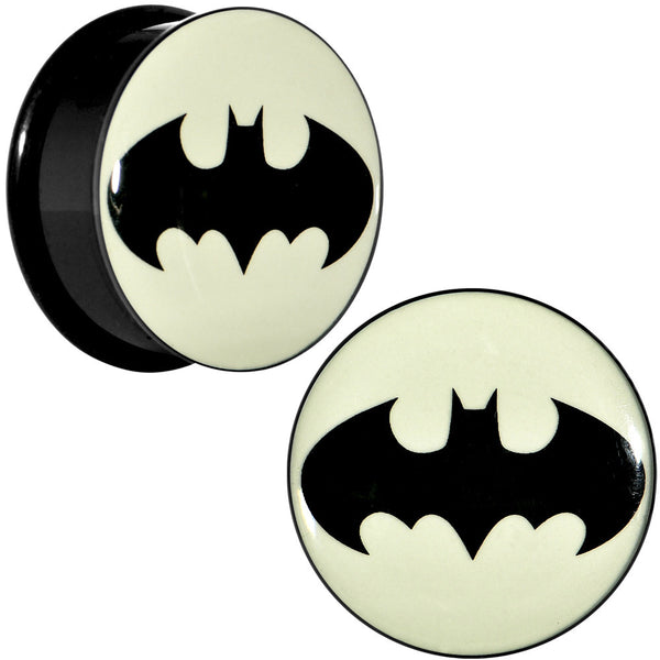 "1"" Black Acrylic Glow in the Dark Batman Plug Set"