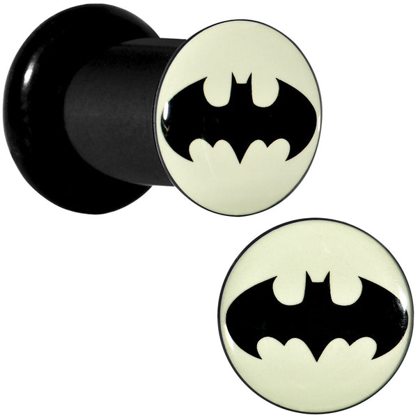 2 Gauge Black Acrylic Glow in the Dark Batman Plug Set