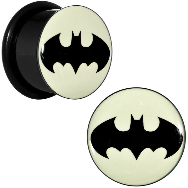 "5/8"" Black Acrylic Glow in the Dark Batman Plug Set"