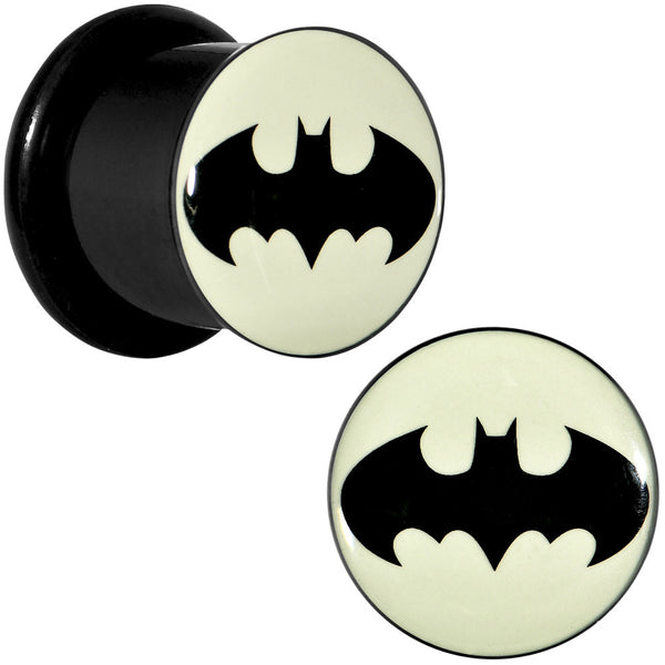 "7/16"" Black Acrylic Glow in the Dark Batman Plug Set"