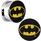 "9/16"" Stainless Steel Batman Logo Screw Fit Plug Set"