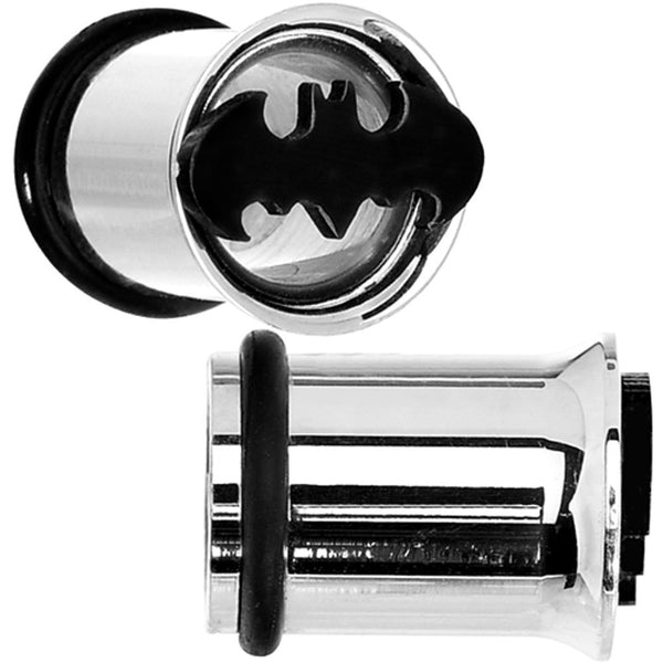 0 Gauge Stainless Steel Batman Tunnel Plug Set