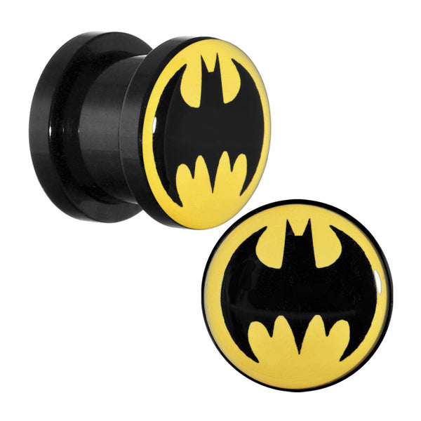 00 Gauge Black Acrylic Batman Screw Fit Plug Set